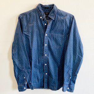 J Crew Mens Indigo Japanese Denim Shirt - Slim M